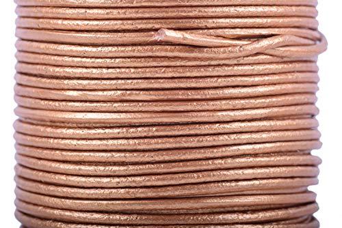 KONMAY 25 Yards Solid Round 2.0mm Metallic Golden Genuine/Real Leather Cord Braiding String (2.0mm, Metallic - Braiding Supplies Leather