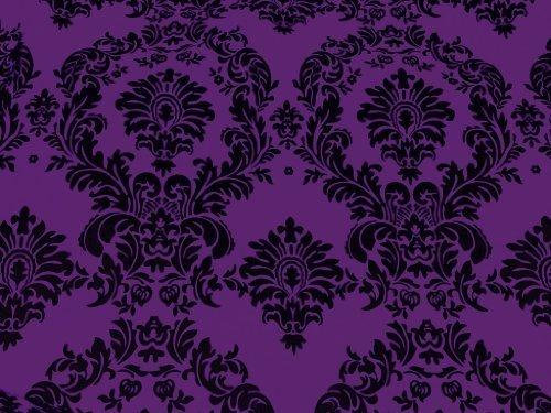 Taffeta Flocking Damask Purple 58 Inch Wide Fabric By the Yard - Damask Fabric