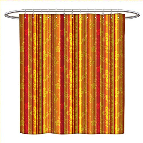 WinfreyDecor Orange Shower Curtains 3D Digital Printing Vertically Stripes Pattern With Stylized Flowers Swirled Leaves And