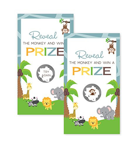 Safari Theme Baby Shower (Jungle Baby Shower Scratch Off Game Cards)