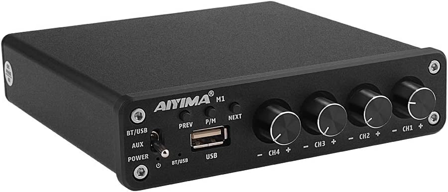 AIYIMA Bluetooth 5.0 Amplifiers TPA3116D2 HiFi Auido Power Amplifier 4 Channel 50Wx4 Audio Amp for Home Theater Speaker Amplificador