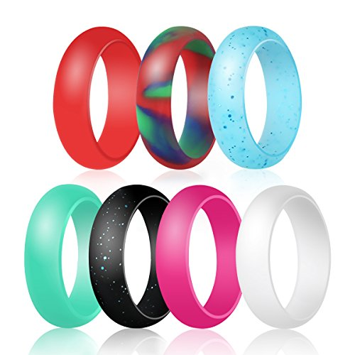Silicone Wedding Rings, Ubearkk Women Silicone Wedding Bands for Women,7 Pack -7 Colors,Size 5 to 9-Comfortable fit,No-toxic,Skin Safe (Size 9) Review