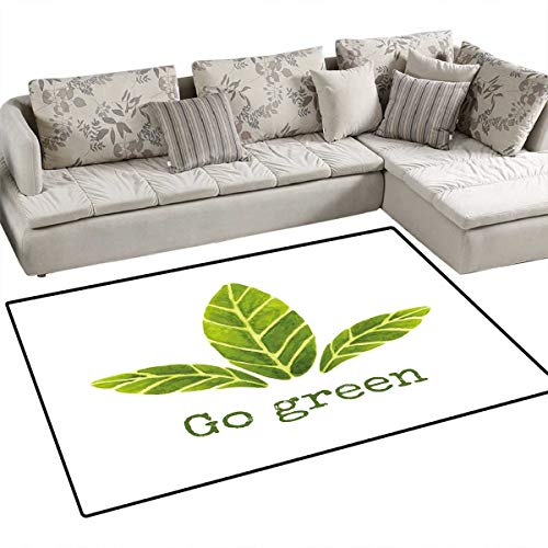 - Sage Anti-Skid Rugs Ecological Concept Hand Painted Style Watercolor Leaves with Go Green Inspirational Girls Rooms Kids Rooms Nursery Decor Mats 55