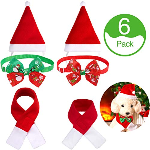 6 Sets Christmas Dog Cat Pet Santa Hat Scarf and Collar Bow Tie Xmas Pet Costume for Small Puppy Cat Dog Pet, 2 Sizes for Muffler