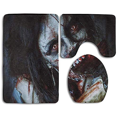 CCBUTBA Scary Dead Woman with Bloody Axe Evil Fantasy Gothic Mystery Halloween Bathroom Rug Mats Set 3 Piece,Funny Bathroom Rugs Graphic Bathroom Sets,Anti-Skid Toilet Mat Set