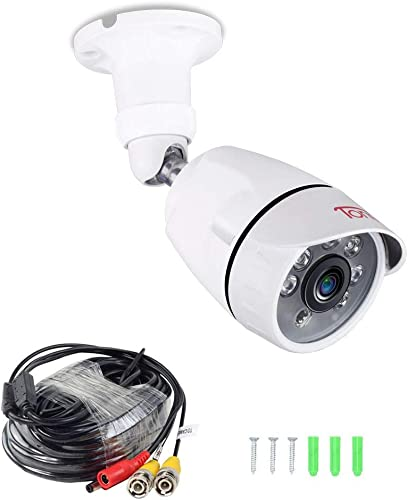 Tonton Full HD 1080P Outdoor Security Bullet Camera, 100ft Long Night Vision, 6 PCS Infrared LED with IR Cut, Surveillance Camera, Come with 20Ft BNC Cable, Compatible with TVI AHD DVR