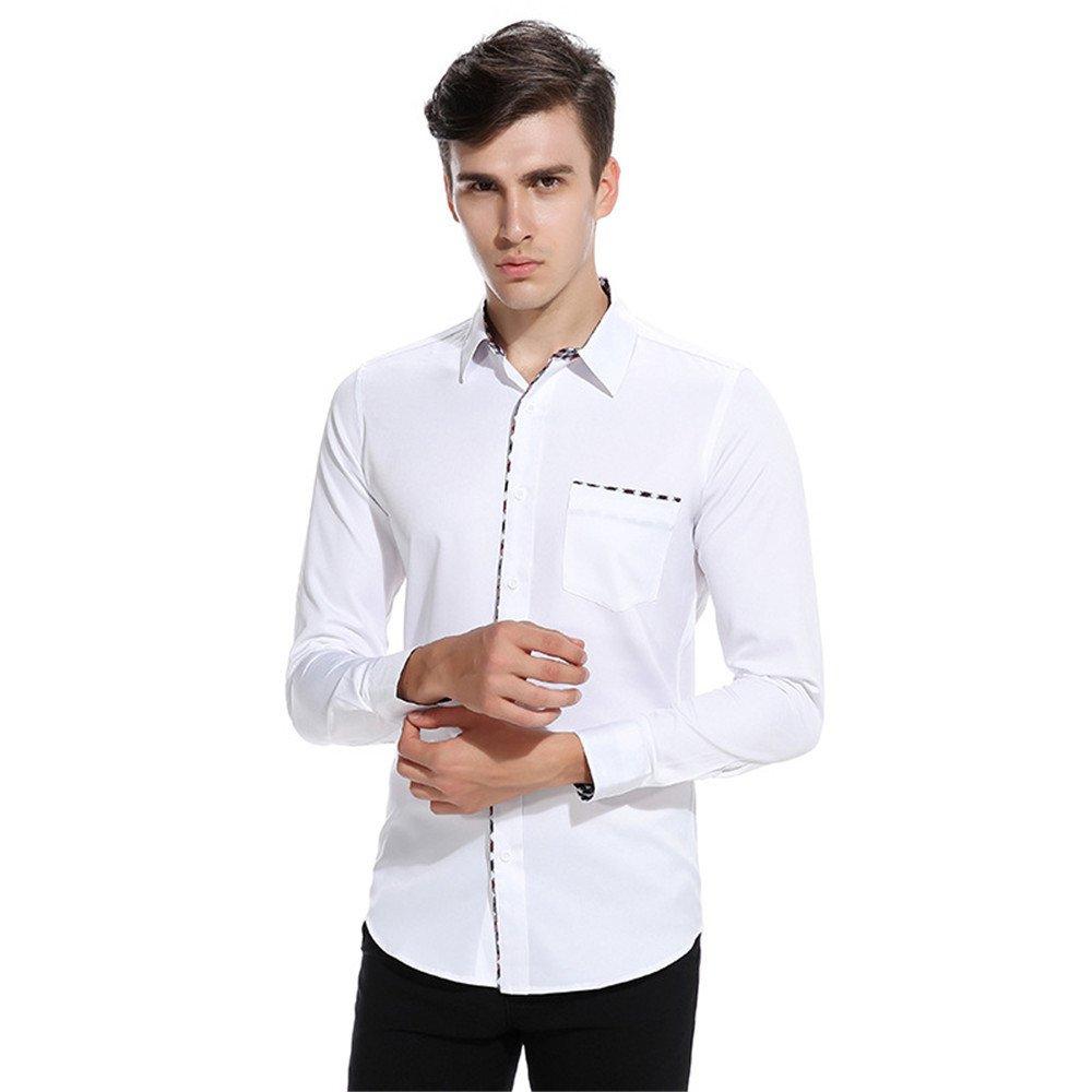 Männer langärmliges Hemd und langärmelige Shirt lässig Hemd,weiße,l