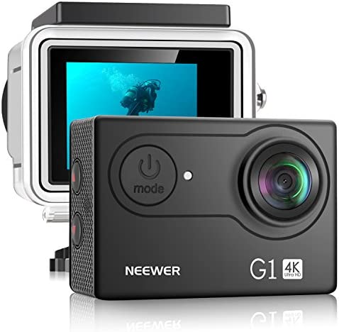 Neewer G1 Ultra HD 4K Action Camera 12MP, 98 ft Underwater Waterproof Camera 170 Degree Wide Angle WiFi Sports Cam High-tech Sensor and 2-inch Screen with Battery and Mounting Accessories Kit Black