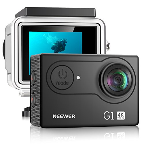 Neewer G1 Ultra HD 4K Action Camera 12MP, 98 ft Underwater Waterproof Camera 170 Degree Wide Angle WiFi Sports Cam High-tech Sensor and 2-inch Screen with Battery and Mounting Accessories Kit (Black) Neewer