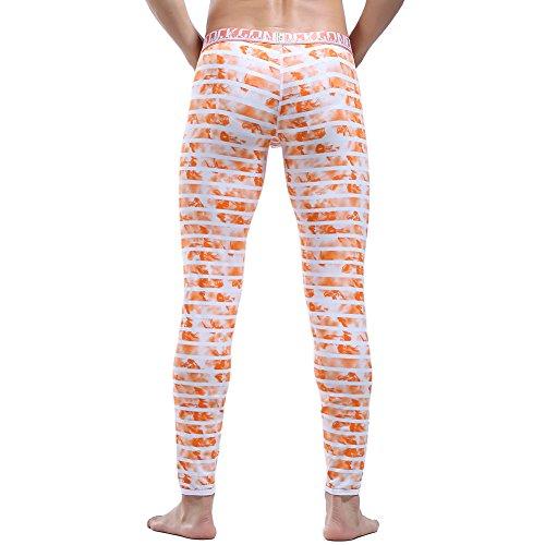 bermuda bodyshape righe lungo termico jersey leggings slip longuette in forma a di uomo a arancio Pantalone TCw4q