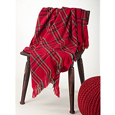 Classic Red Plaid Design Throw Blanket, 50 x60