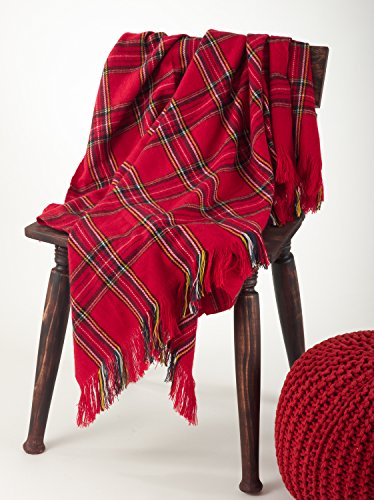 (Fennco Styles Classic Red Plaid Design Throw Blanket - 50
