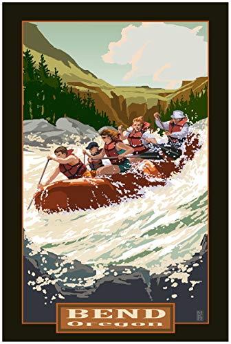 Bend Oregon Whitewater Rafting Travel Art Print Poster by Mike Rangner (24