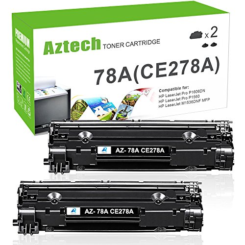 - Aztech 2 Pack Compatible for HP 78A CE278A Black Toner Cartridge 2,100 Pages Yield For HP LaserJet Pro P1606DN P1606 P1566 P1560 M1536 MFP M1536DNF Printer