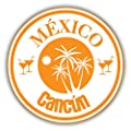 Cancun Mexico Travel Stamp Sticker Decal Design 5'' X 5''