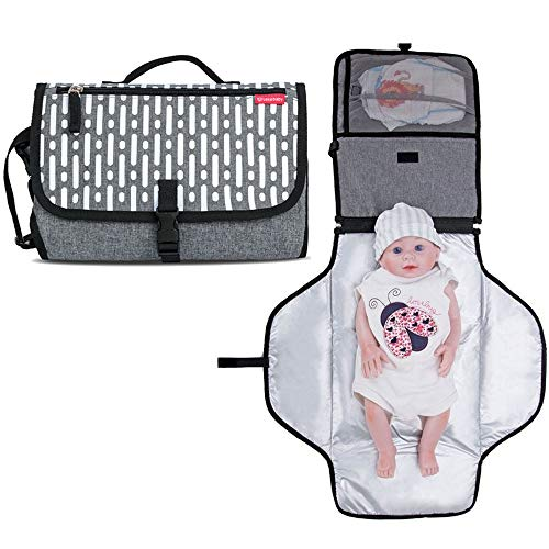 Lekebebay Portable Diaper Changing Pad Built-in Head Cushion Waterproof Baby Travel Changing Station, Strips Print