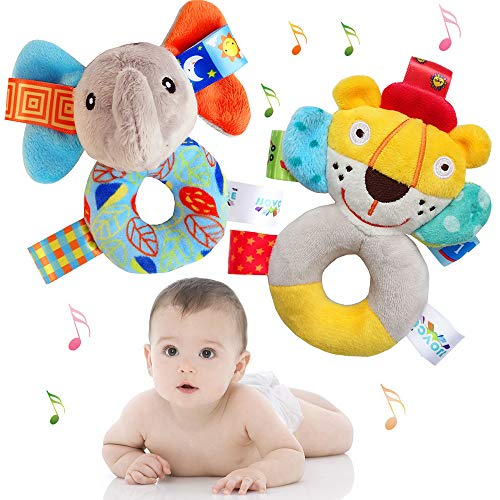 Stacker Plush Ring - CHAFIN Baby Rattle Toy | Develops & Improves Hand-Eye Coordination Infant Rattles Toys | Cute Stuffed Animal with Sound for 3 6 9 12 Months and Newborn Gift(2 Pack)