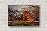 Red Barn Canvas Wall Art - Gallery Wrap of Old Barn in Autumn Farm and Ranch Decor for Home or Business 8x10 to 30x40