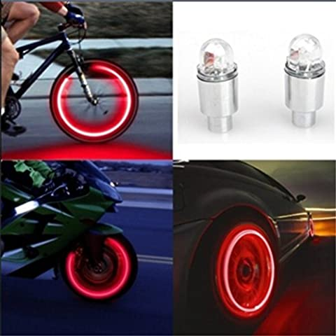 Auto Accessories Bike Supplies Neon Blue Strobe LED Tire Valve Caps,Tuscom (Red) - Motorcycles Accessories