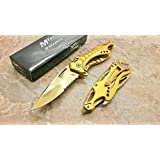 M-teach Assisted Opening ALL Goldgold Titanium Coating Aluminum Handle Rescue Tactical Stainless Steel Blade for Hunting Camping Outdoor Knife - Gold
