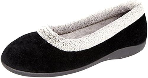 Ladies velour Ballerina slippers with