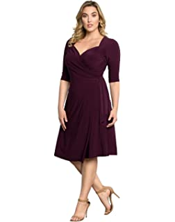 5122e4e5d77f Kiyonna Women's Plus Size Essential Wrap Dress at Amazon Women's ...