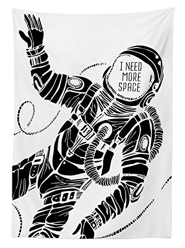 Outer Space Decor Tablecloth Motivation Calligraphy with Astronaut in the Costume Gravity Artwork Dining Room Kitchen Rectangular Table Cover Black (Curious George Astronaut Costume)