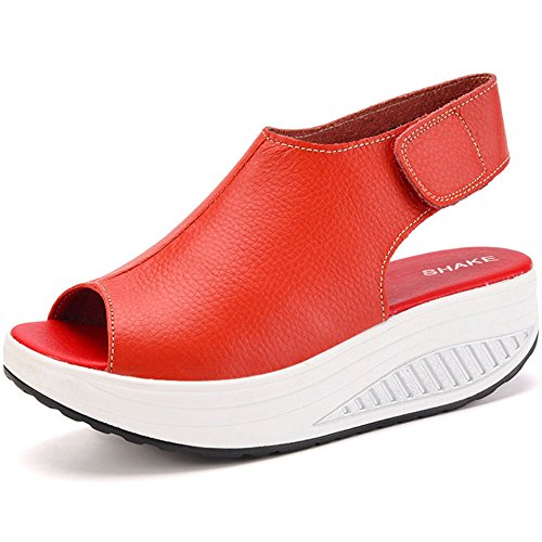 63a203800cc SHAKE Women s Leather Comfort Peep Toe Walking Wedges Sandals Platform  Heeled Shoes for Women (5.5US Women EU 36