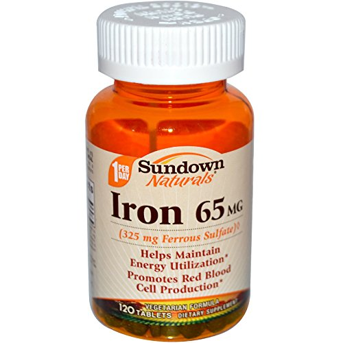 65mg Tabs - Sundown Naturals Iron 65 mg Tablets 120 Tablets (Pack of 3)