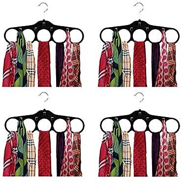 Home Basics Velvet Tie Hanger, Black, 4-Pack