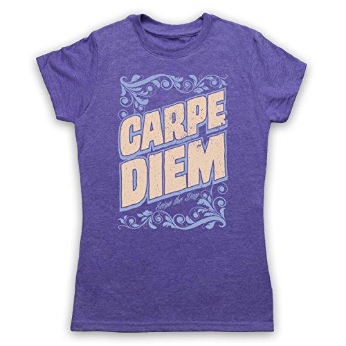 Carpe Diem Seize The Day Camiseta para Mujer Morado Clásico