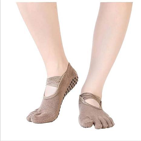 ZGJ Affe Mens 4 Pairs Anti-Skid Yoga Socks with Grips Five Toe Cotton Socks for Ballet Dance Fitness Pilates