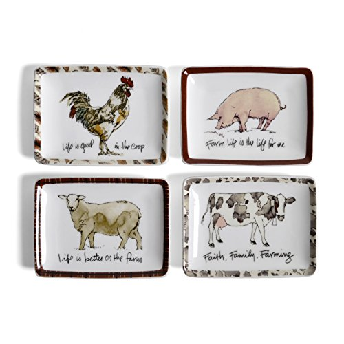 Creative Co Op Farm Trinket Plates