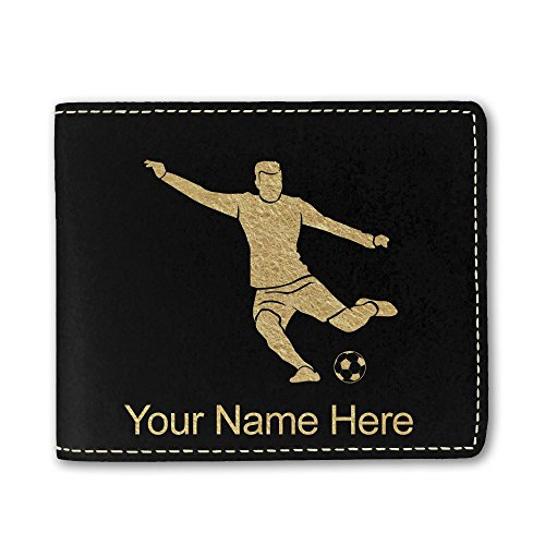 (Faux Leather Wallet, Soccer Player Man, Personalized Engraving Included (Black))