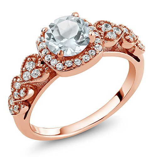 Gem Stone King 1.07 Ct Round Sky Blue Aquamarine 18K Rose Gold Plated Silver Ring (Size 7) (Aquamarine 18k Rose)
