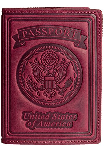 Villini 100% Leather US Passport Holder Cover Case For Men Women In 9 Colors (Purple - Ma Target In