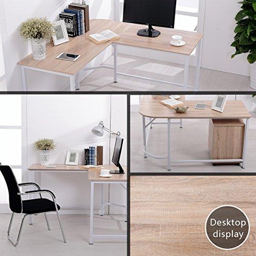 TOPSKY L-Shaped Desk Corner Computer Desk 55'' x 55'' with 24'' Deep Workstation Bevel Edge Design (Walnut+Black Leg) by TOPSKY (Image #9)