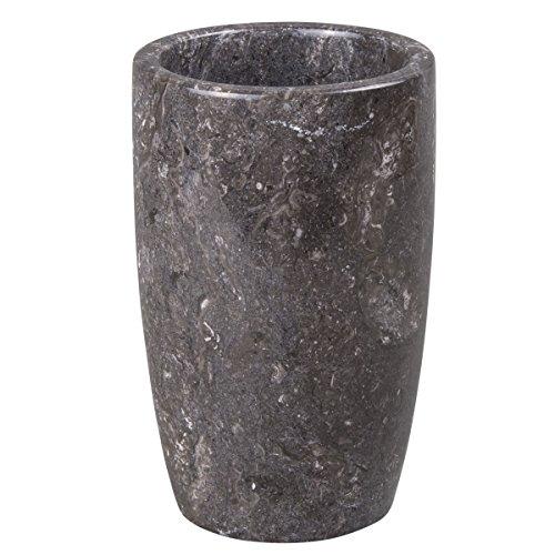 Creative Home Charcoal Marble Stone Tumbler, Toothbrush Holder, 3 Diam. x 4-1/2 H, Dark Grey