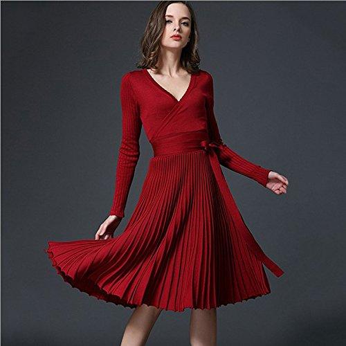 European Design Elegant Autumn Dress V-neck Women Casual, sweater dress , knitted dress , Long Sleeve Knitted Dress Brand Fashion Pleated Ladies Drese