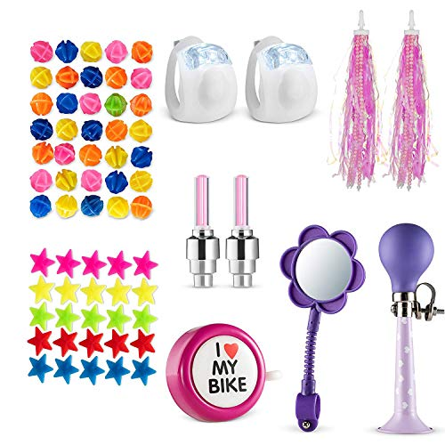 Bikes On Hikes 65 Piece Children's Bike Set Pink Purple - Includes Horn, Mirror, Bell, 2 Streamers, 2 Flash Valve Sealing Caps, 2 White Lights, 30 Stars, 30 Balls Spoke Lights - All in One Set