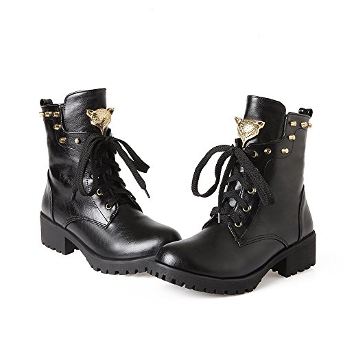 AllhqFashion Womens Low-top Solid Lace-up Closed Round Toe Low-Heels Boots Black PAyAC8