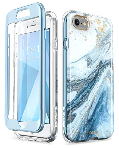 i-Blason Cosmo Series Case Designed for iPhone7/iPhone 8, [Built-in Screen Protector] [Cosmo] Stylish Protective Bumper Case for iPhone 8 (2017) / iPhone 7 (2016) (Blue)