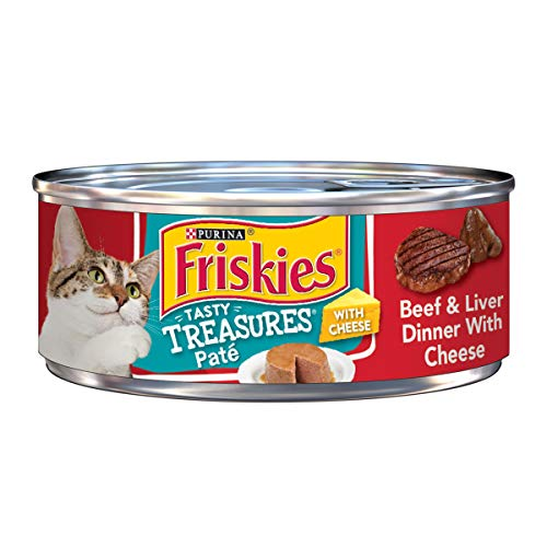 - Purina Friskies Pate Wet Cat Food; Tasty Treasures Beef & Liver Dinner With Cheese  - (24) 5.5 oz. Cans