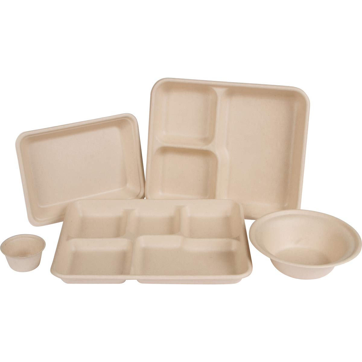 Total Papers,7.5x 5.5 Rectangular Tray Tree Free NO Bagasse, NO Bleach Compostable Wheat Straw Fiber 500 per case Environmentally Responsible 100/% Biodegradable