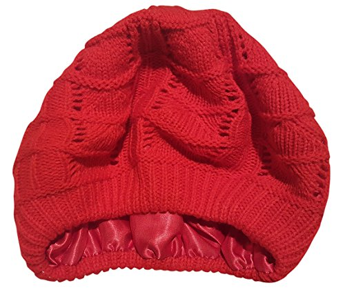 (Satin Lined Knit Beret Hat (Red))