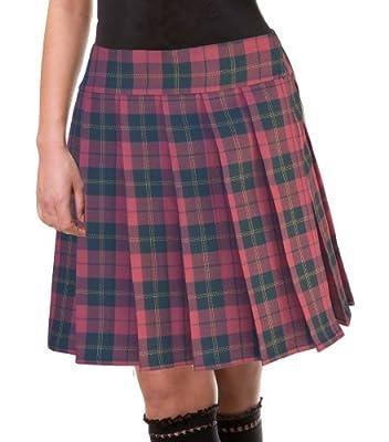 Burgundy and Black Schoolgirl Tartan Plaid Pleated Plus Size Long Skirt Barossa