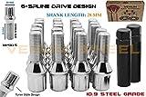 20 Pc Chrome 14x1.5B Spline Tuner Lug Bolts for Aftermarket Wheels - 28 MM Shank Length Wheel Bolt (Standard Length) - for All Mercedes Benz Vehicles W/ 14x1.5 Thread Pitch + 2 Keys