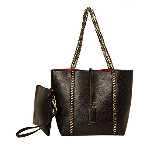 Imoshion Fashionable Rhianne shoulder Bag and Wristlet Bag- BLACK /RED Shoulder Bag