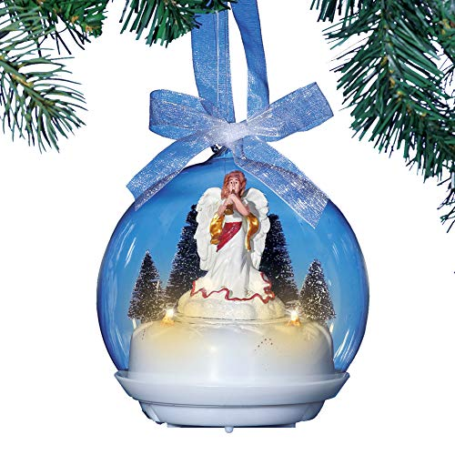 (Collections Etc Musical Angel Glass Christmas Ornament with Rotating Feature & 8 Holiday Songs)