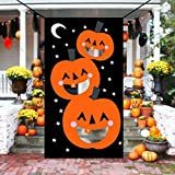 KOMIWOO Pumpkin Bean Bag Toss Games with 3 Bean Bags, Kids Halloween Party Games Halloween Decorations
